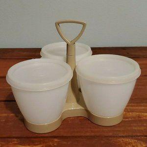 Tupperware Condiment Almond White Container & Lids